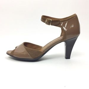 Soft Patent Leather Ankle Strap Heels, 8.5M, Nude